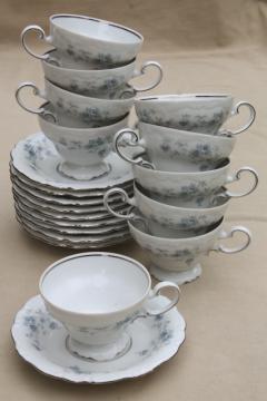 set of 10 Blue Garland china tea cups and saucers, vintage Bavaria mark Johann Haviland