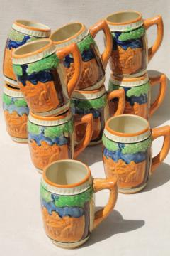 set of 10 vintage ceramic beer mugs, pottery steins w/ hand-painted beer garden scenes