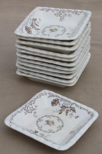 set of 12 antique brown transferware butter pats or side dishes small square plates & set of 12 antique brown transferware butter pats or side dishes ...