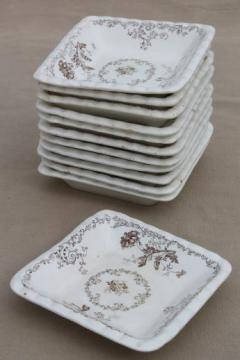 set of 12 antique brown transferware butter pats or side dishes, small square plates