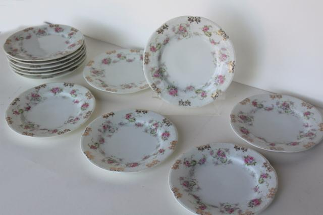 set of 12 antique china dessert plates w/ pink roses floral, Wallender Austria