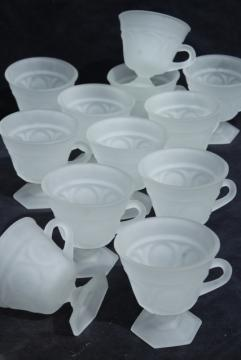 set of 12 footed glass punch cups, vintage Tiara glass frosted crystal