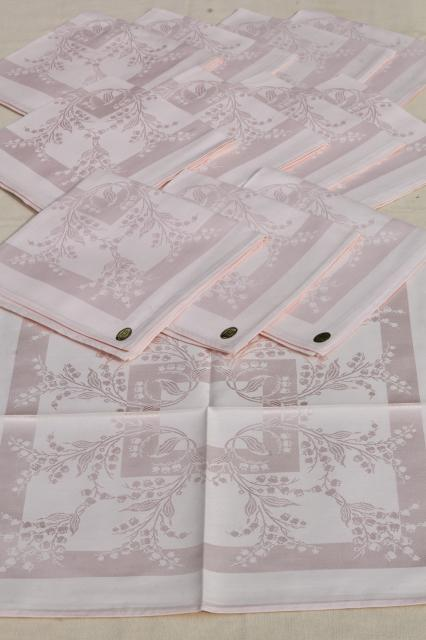 set of 12 pink cotton rayon damask cloth dinner napkins, unused table linen, vintage linens