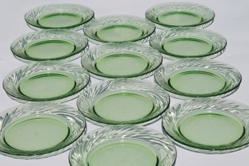 set of 12 spring green glass salad plates, vintage Pyrex festiva pattern glassware