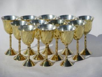 set of 12 tiny tinned solid brass goblets, vintage liqueur glasses, silver & gold