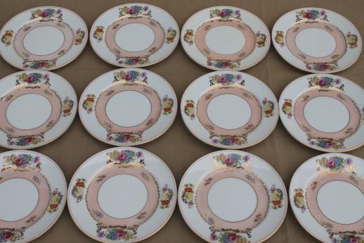 set of 12 vintage flowered china cake plates Harmony House Grandeur floral & set of 12 vintage flowered china cake plates Harmony House Grandeur ...