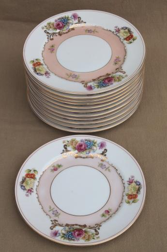 set of 12 vintage flowered china cake plates Harmony House Grandeur floral : china cake plate - pezcame.com