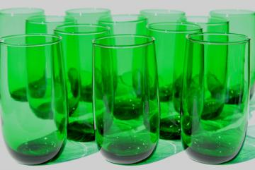 set of 12 vintage forest green glass roly poly tumblers, 50s retro drinking glasses