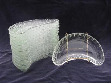 set of 14 crescent shaped glass side plates or salad dishes, large fruit bowls