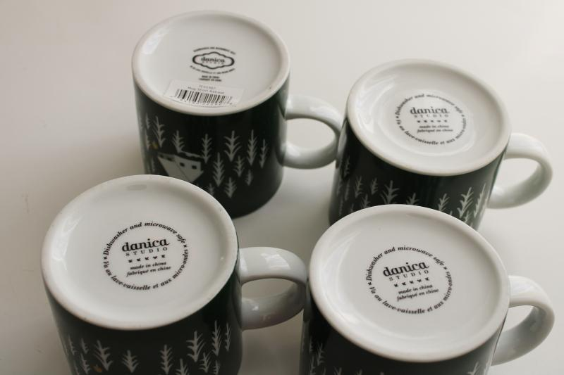 set of 4 Danica short retreat coffee mugs, camp cabin in the pine trees woods