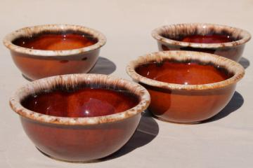 set of 4 brown drip stoneware bowls, vintage Hull oven proof pottery mirror brown glaze