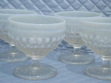 set of 4 vintage moonstone opalescent hobnail glass sherbet dishes