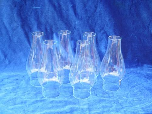 Set Of 6 Glass Lamp Chimneys Vintage Replacement