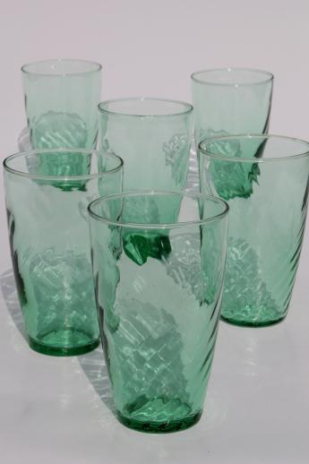 Set Of 6 Green Glass Drinking Glasses Optic Swirl Pattern