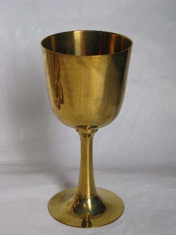 Set Of 6 Solid Brass Goblets Medieval Gothic Renaissance