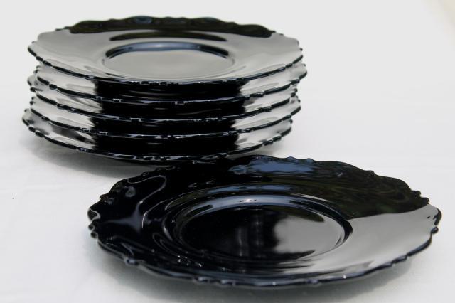 set of 6 vintage black amethyst glass plates Mt Pleasant LE Smith Mount Pleasant pattern & set of 6 vintage black amethyst glass plates Mt Pleasant LE Smith ...