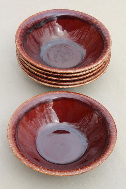 set of 6 vintage brown drip glaze pottery bowls, USA mark stoneware dishes