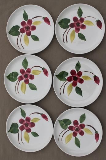set of 6 vintage hand-painted pottery cake & pie plates, Blue Ridge or Stetson?