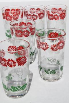 set of 6 vintage swanky swig juice glasses w/ red & white flowers, green leaves