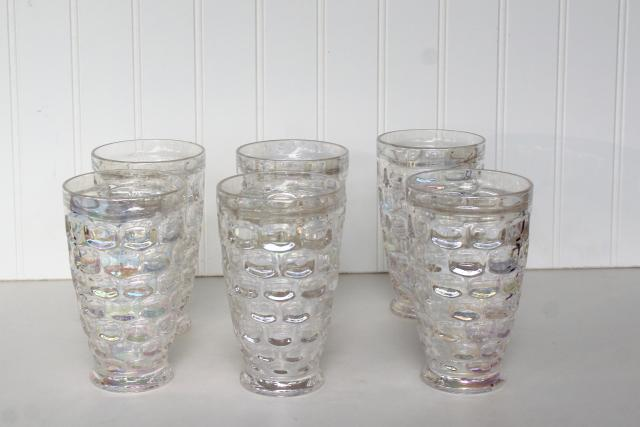 set of 6 vintage thumbprint pattern glass tumblers, iridescent moonglow luster