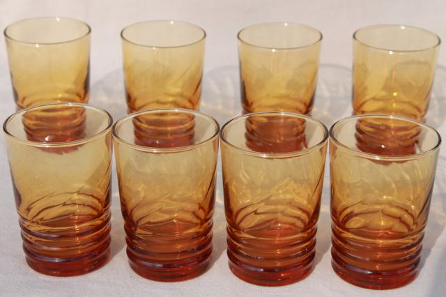set of 8 amber glass drinking glasses, retro tumblers / bar glasses 60s vintage