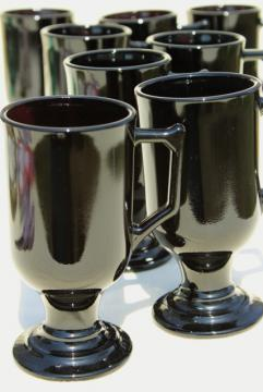 set of 8 footed cups or tall mugs, vintage black glass, Indiana Continental