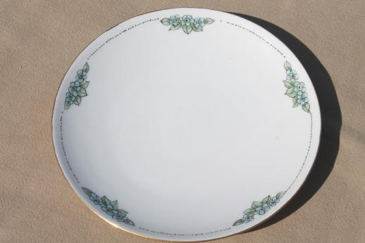 set of 8 old Bavaria china plates w/ hand painted blue forget-me-nots