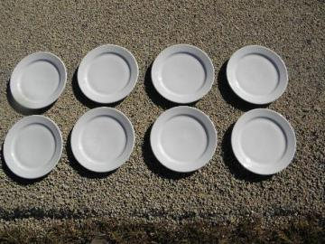 set of 8 old railroad or hotel china plates, Euro style vintage white ironstone