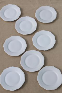 set of 8 tiny pure white porcelain plates or coasters, Limoges - France china