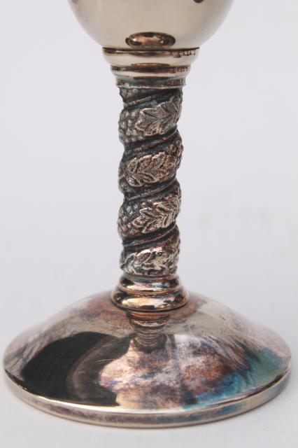 Set Of 8 Vintage Spanish Silver Wine Goblets Stemmed