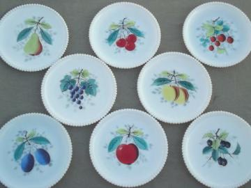set of 8 vintage Westmoreland milk glass plates w/ hand painted fruit
