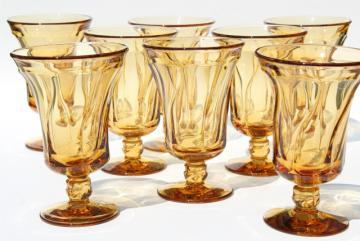 set of 8 vintage amber glass water goblets or iced tea glasses, Fostoria Jamestown