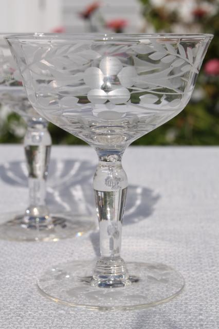 8 Cups Champagne Crystal Engraved Champagne Crystal Glass Pottery & Glass Art Glass