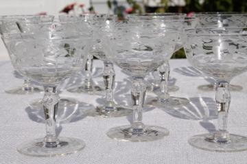 set of 8 vintage coupe champagnes, crystal clear etched cut glass champagne saucers