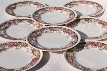 set of 8 vintage dinner plates, Devonshire Johnson Brothers transferware china