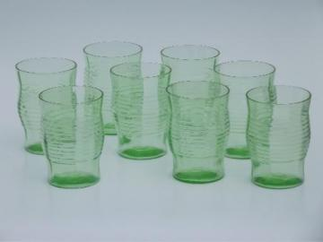 set of 8 vintage green depression glass tumblers, banded ring on optic