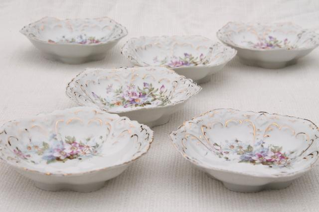 set of antique German china berry bowls or dessert dishes early 1900s vintage & set of antique German china berry bowls or dessert dishes early ...