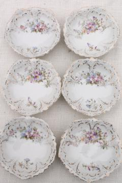 set of antique German china berry bowls or dessert dishes, early 1900s vintage