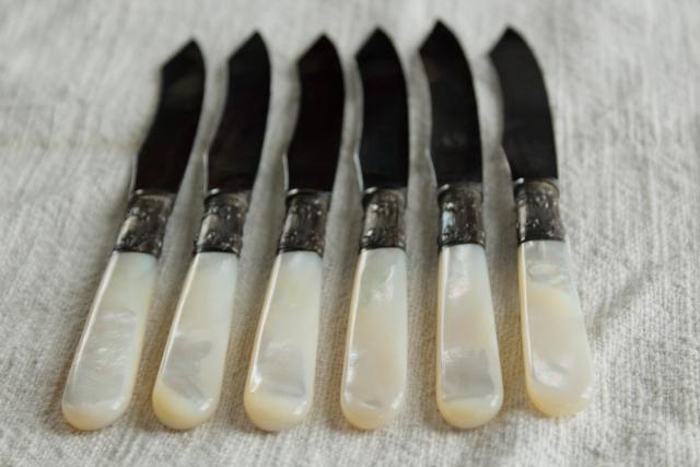 set of antique fruit knives w/ mother of pearl handles, engraved silver or sterling