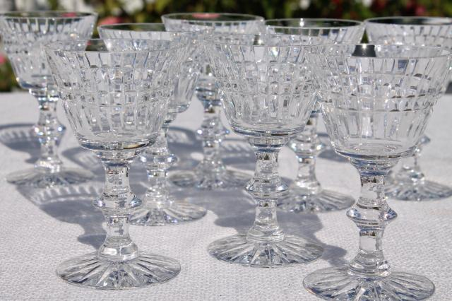 Set Of Eight Cut Crystal Wine Glass Or Cocktail Glasses Vintage