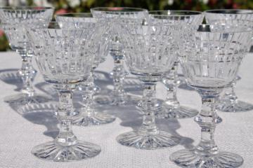 set of eight cut crystal wine glass or cocktail glasses, vintage stemware