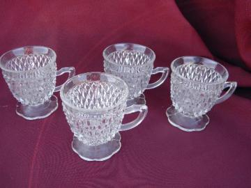 set of four footed snack cups, vintage diamond point Indiana glass