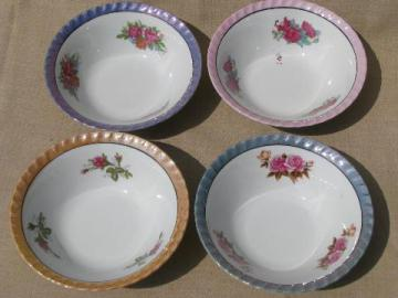 set of four large bowls w/ colored luster bands, vintage Japan china