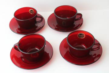 set of four royal ruby red glass cups & saucers w/ original Anchor Hocking labels