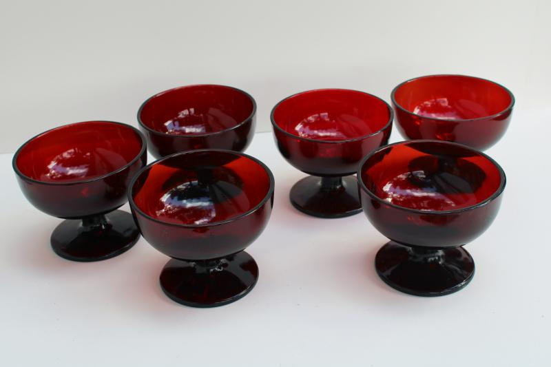 set of sherbets or ice cream dishes, vintage royal ruby red glass Anchor Hocking