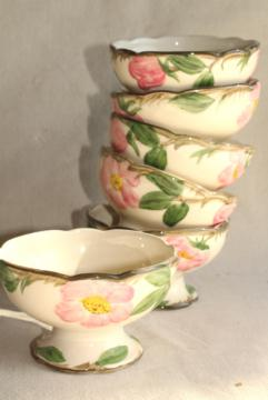 set of six dessert dishes, footed sherbets Desert Rose pattern vintage USA Franciscan pottery