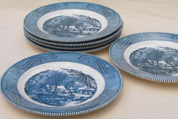 set of six dinner plates, vintage Royal china Currier & Ives blue transferware