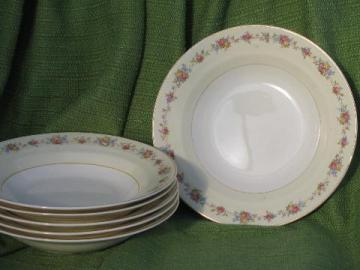 set of six rose border soup plates, vintage Crown Potteries china