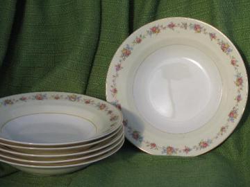 set of six rose border soup plates, vintage Crown Potteries china