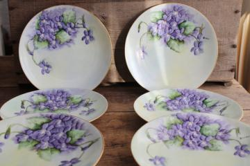 set of six vintage china cake / dessert plates w/ hand painted violets